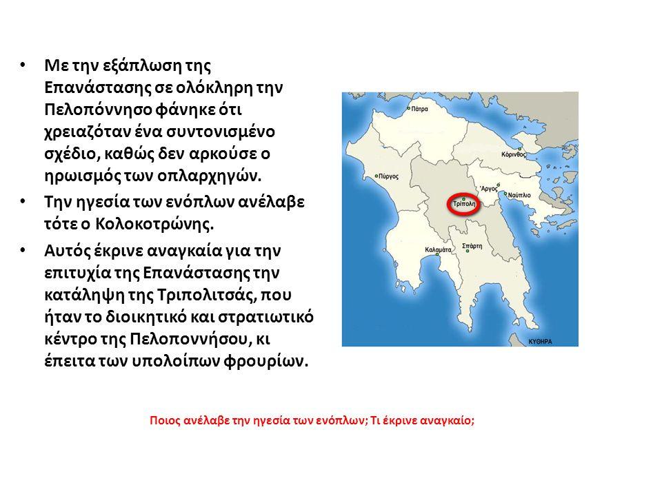 Με την εξάπλωση της Επανάστασης σε ολόκληρη την Πελοπόννησο φάνηκε ότι χρειαζόταν ένα συντονισμένο σχέδιο, καθώς δεν αρκούσε ο ηρωισμός των οπλαρχηγών.