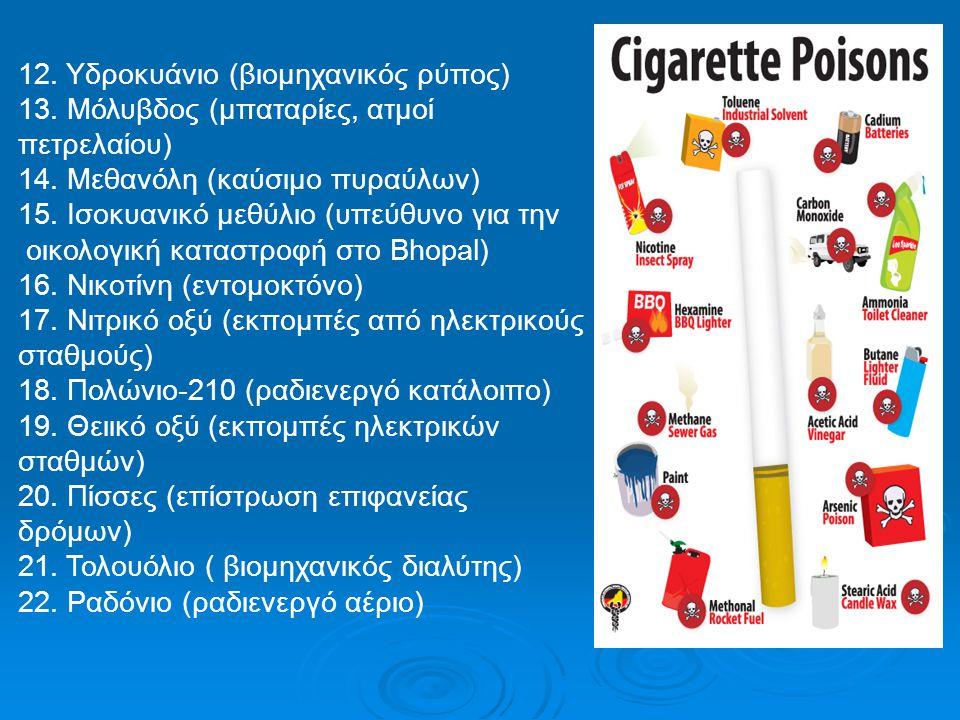 12. Υδροκυάνιο (βιομηχανικός ρύπος) 13. Μόλυβδος (μπαταρίες, ατμοί πετρελαίου) 14. Μεθανόλη (καύσιμο πυραύλων) 15. Ισοκυανικό μεθύλιο (υπεύθυνο για τη