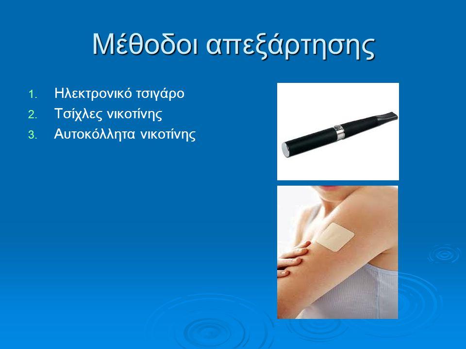 Μέθοδοι απεξάρτησης 1. 1. Ηλεκτρονικό τσιγάρο 2. 2. Τσίχλες νικοτίνης 3. 3. Αυτοκόλλητα νικοτίνης