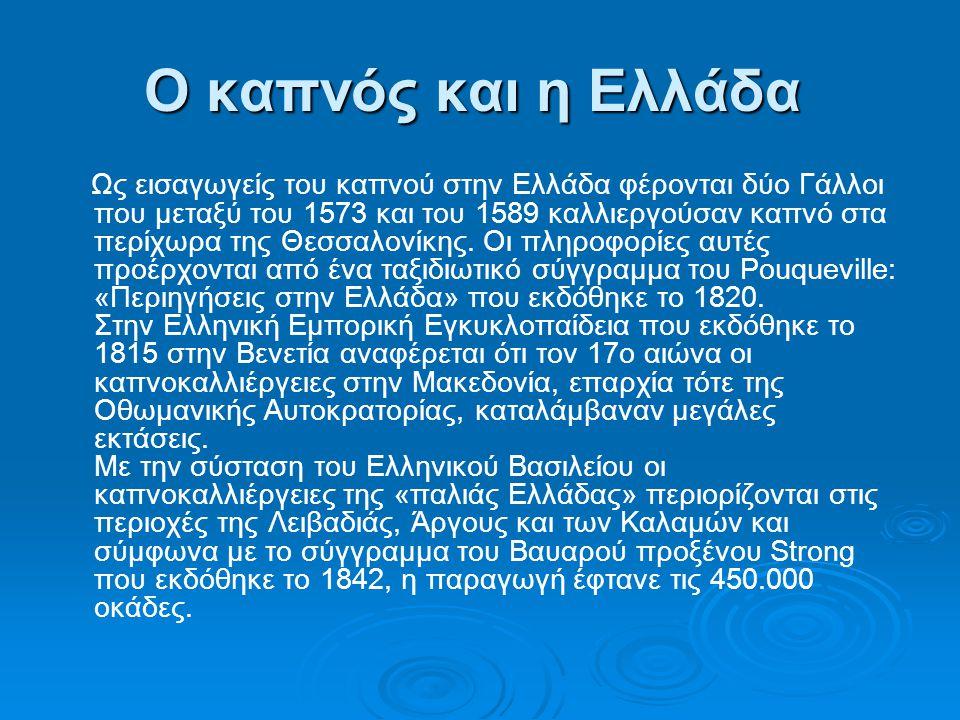 Ο καπνός και η Ελλάδα Ο καπνός και η Ελλάδα Ως εισαγωγείς του καπνού στην Ελλάδα φέρονται δύο Γάλλοι που μεταξύ του 1573 και του 1589 καλλιεργούσαν κα