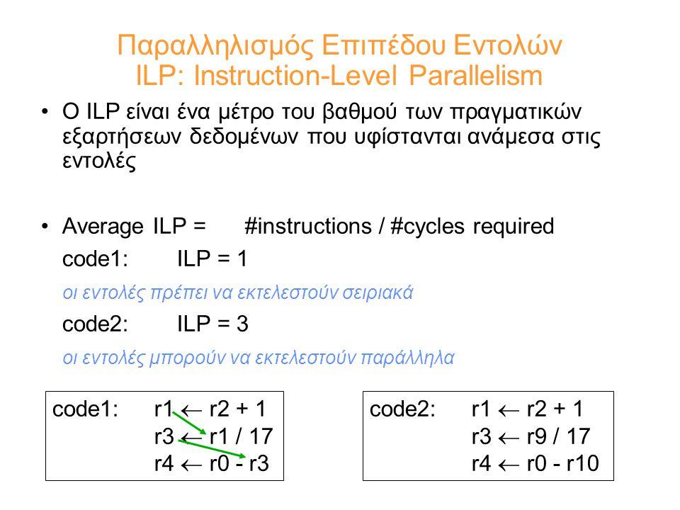 Παραλληλισμός Επιπέδου Εντολών ILP: Instruction-Level Parallelism Ο ILP είναι ένα μέτρο του βαθμού των πραγματικών εξαρτήσεων δεδομένων που υφίστανται ανάμεσα στις εντολές Average ILP =#instructions / #cycles required code1: ILP = 1 οι εντολές πρέπει να εκτελεστούν σειριακά code2: ILP = 3 οι εντολές μπορούν να εκτελεστούν παράλληλα code1: r1  r2 + 1 r3  r1 / 17 r4  r0 - r3 code2:r1  r2 + 1 r3  r9 / 17 r4  r0 - r10