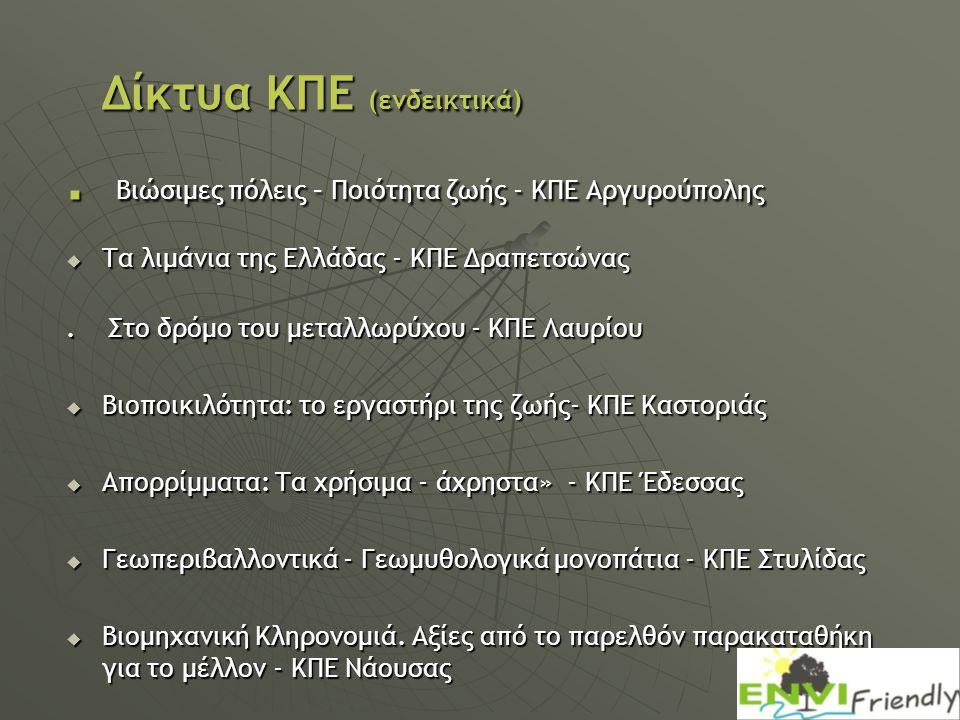 Δίκτυα ΚΠΕ (ενδεικτικά). Βιώσιμες πόλεις – Ποιότητα ζωής - ΚΠΕ Αργυρούπολης  Τα λιμάνια της Ελλάδας - ΚΠΕ Δραπετσώνας. Στο δρόμο του μεταλλωρύχου - Κ