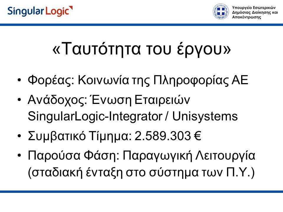 Αποτελέσματα (Στελέχη) Παρακολούθηση εκκρεμοτήτων Μαζική Ανάθεση / παρακολούθηση χρεώσεων Πληροφόρηση για κατανομή φόρτου εργασίας Εύκολη πληροφόρηση για την λειτουργία της Π.Υ.
