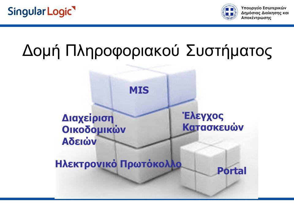Έλεγχος Κατασκευών Ηλεκτρονικό Πρωτόκολλο Διαχείριση Οικοδομικών Αδειών MIS Portal Δομή Πληροφοριακού Συστήματος