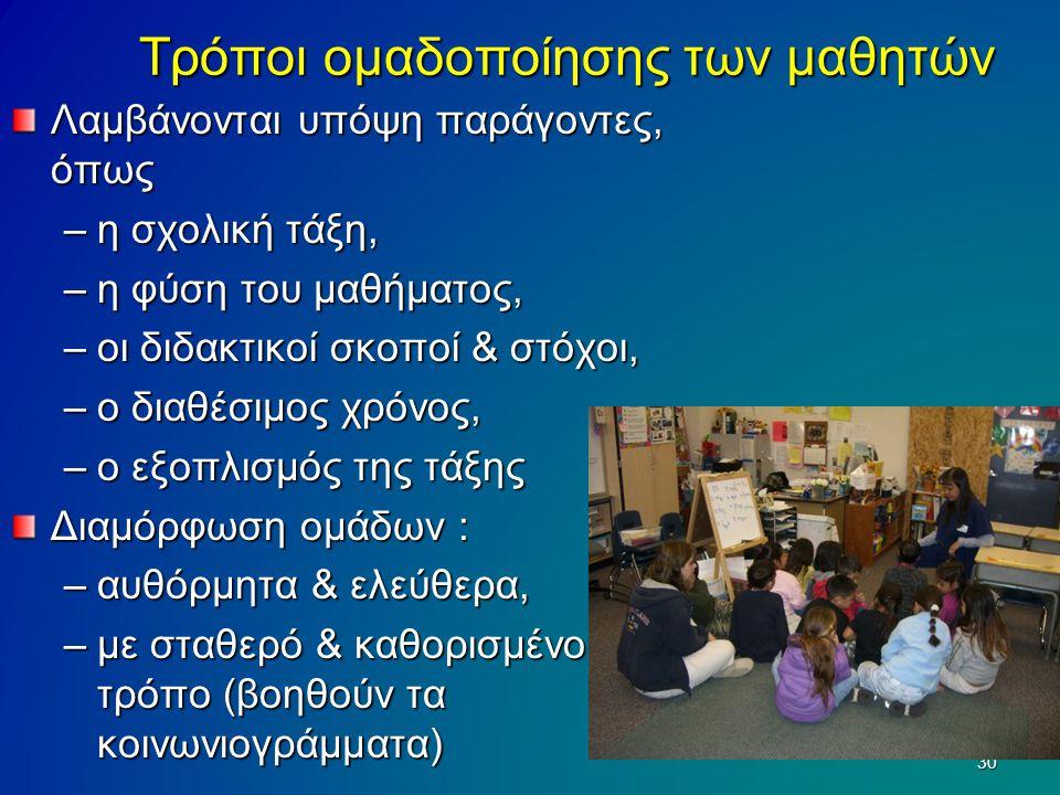 Τρόποι ομαδοποίησης των μαθητών Λαμβάνονται υπόψη παράγοντες, όπως –η σχολική τάξη, –η φύση του μαθήματος, –οι διδακτικοί σκοποί & στόχοι, –ο διαθέσιμ