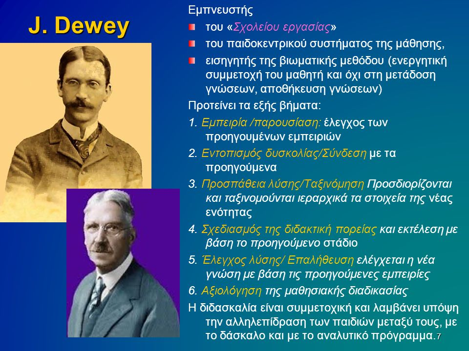 J. Dewey Εμπνευστής του «Σχολείου εργασίας» του παιδοκεντρικού συστήματος της μάθησης, εισηγητής της βιωματικής μεθόδου (ενεργητική συμμετοχή του μαθη