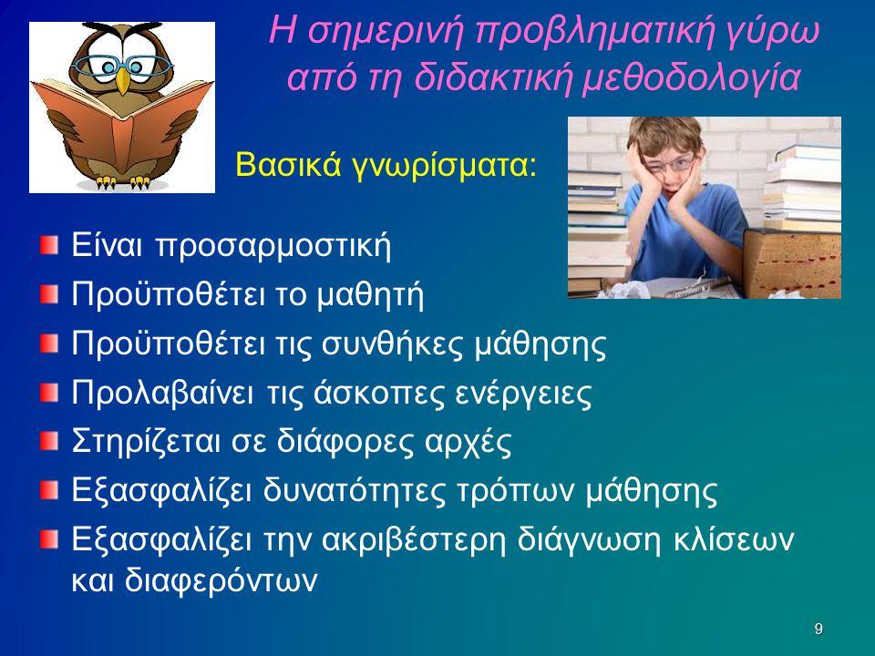 Η σημερινή προβληματική γύρω από τη διδακτική μεθοδολογία Είναι προσαρμοστική Προϋποθέτει το μαθητή Προϋποθέτει τις συνθήκες μάθησης Προλαβαίνει τις ά