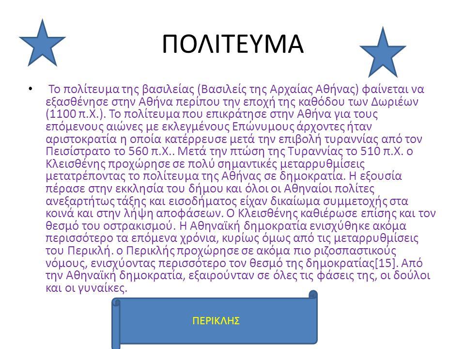 ΠΟΛΙΤΕΥΜΑ Το πολίτευμα της βασιλείας (Βασιλείς της Αρχαίας Αθήνας) φαίνεται να εξασθένησε στην Αθήνα περίπου την εποχή της καθόδου των Δωριέων (1100 π