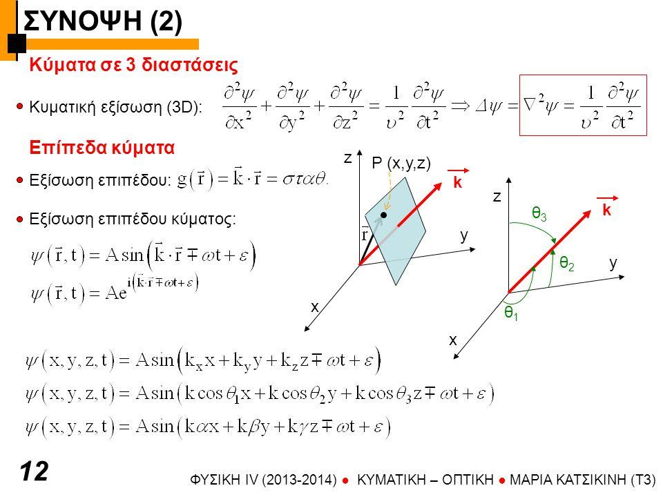 ΣΥΝΟΨΗ (2) ΦΥΣΙΚΗ IV (2013-2014) ● KYMATIKH – OΠTIKH ● ΜΑΡΙΑ ΚΑΤΣΙΚΙΝΗ (T3) 1313 Επίπεδα κύματα Κυματοδιάνυσμα: δείχνει τη διεύθυνση διάδοσης και έχει μέτρο 2π/λ Η διαταραχή μπορεί να είναι παλμός ή αρμονικό κύμα Μέτωπα κύματος = ισοφασικές επιφάνειες = γεωμετρικός τόπος σημείων ίσης φάσης Σε υλικά ανισότροπα ή/και ανομοιογενή οι ισοφασικές επιφάνειες δεν ταυτίζονται με τις επιφάνειες σταθερής τιμής της συνάρτησης Φασική ταχύτητα = ρυθμός με τον οποίο κινούνται τα μέτωπα κύματος x y z
