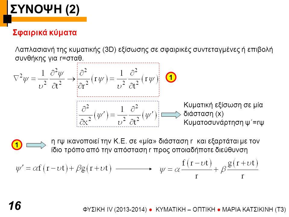 ΣΥΝΟΨΗ (2) ΦΥΣΙΚΗ IV (2013-2014) ● KYMATIKH – OΠTIKH ● ΜΑΡΙΑ ΚΑΤΣΙΚΙΝΗ (T3) 16 Σφαιρικά κύματα Λαπλασιανή της κυματικής (3D) εξίσωσης σε σφαιρικές συντεταγμένες ή επιβολή συνθήκης για r=σταθ.