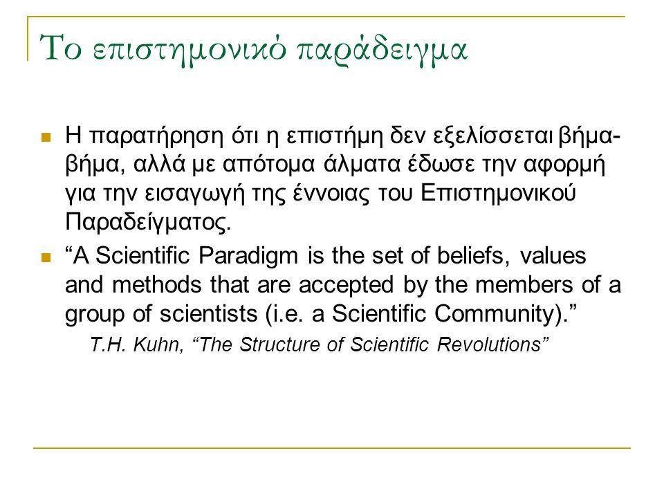 Το επιστημονικό παράδειγμα Η παρατήρηση ότι η επιστήμη δεν εξελίσσεται βήμα- βήμα, αλλά με απότομα άλματα έδωσε την αφορμή για την εισαγωγή της έννοιας του Επιστημονικού Παραδείγματος.