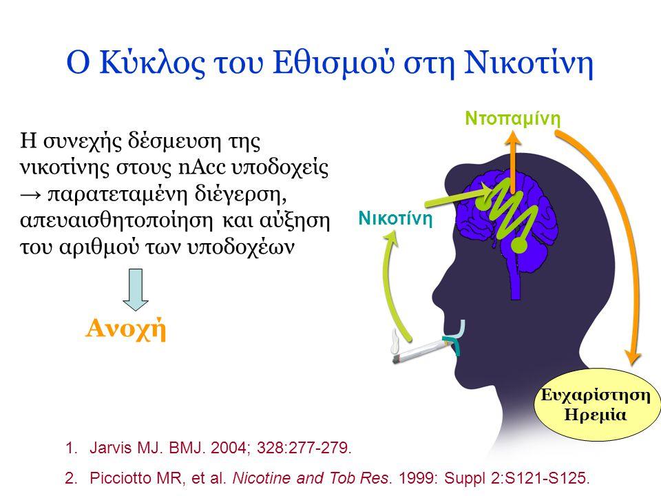 Ο Κύκλος του Εθισμού στη Νικοτίνη 1.Jarvis MJ. BMJ. 2004; 328:277-279. 2.Picciotto MR, et al. Nicotine and Tob Res. 1999: Suppl 2:S121-S125. Ντοπαμίνη