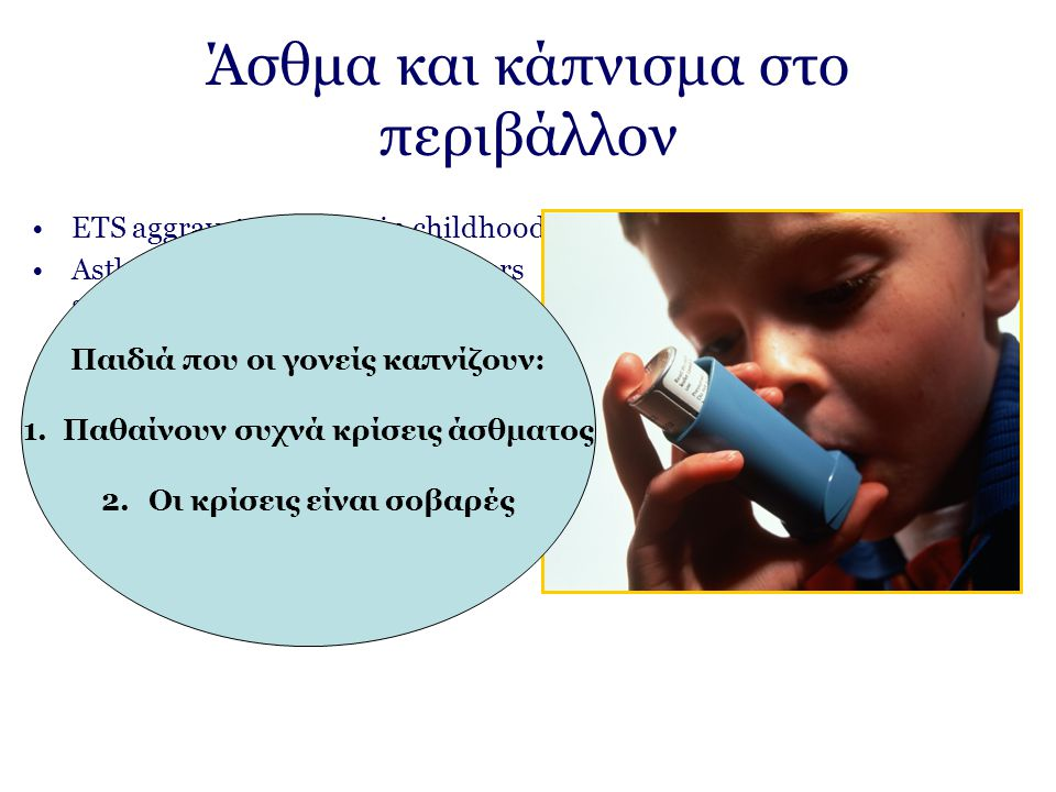 Άσθμα και κάπνισμα στο περιβάλλον ETS aggravates asthma in childhood Asthmatic children whose mothers smoke have more severe cases of asthma compared