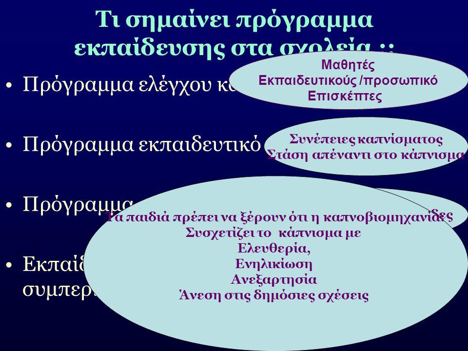 Τι σημαίνει πρόγραμμα εκπαίδευσης στα σχολεία ;; Πρόγραμμα ελέγχου καπνίσματος στο σχολείο Πρόγραμμα εκπαιδευτικό Πρόγραμμα εκπαίδευσης εκπαιδευτικών