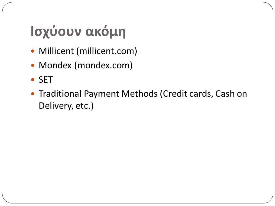 Ισχύουν ακόμη Millicent (millicent.com) Mondex (mondex.com) SET Traditional Payment Methods (Credit cards, Cash on Delivery, etc.)