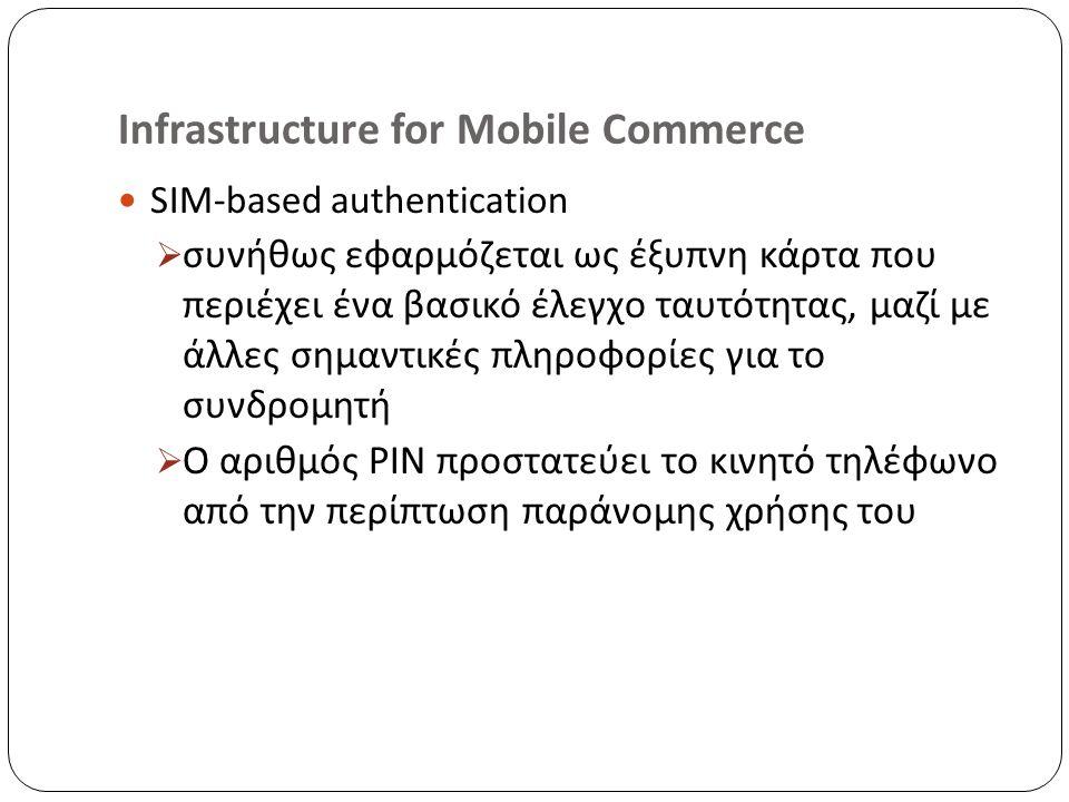 Infrastructure for Mobile Commerce SIM-based authentication  συνήθως εφαρμόζεται ως έξυπνη κάρτα που περιέχει ένα βασικό έλεγχο ταυτότητας, μαζί με άλλες σημαντικές πληροφορίες για το συνδρομητή  Ο αριθμός PIN προστατεύει το κινητό τηλέφωνο από την περίπτωση παράνομης χρήσης του