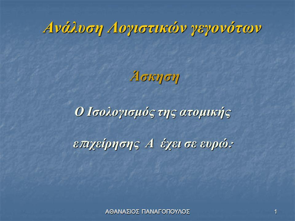 ΑΘΑΝΑΣΙΟΣ ΠΑΝΑΓΟΠΟΥΛΟΣ1 Ανάλυση Λογιστικών γεγονότων Ο Ισολογισμός της ατομικής ε π ιχείρησης Α έχει σε ευρώ : Άσκηση