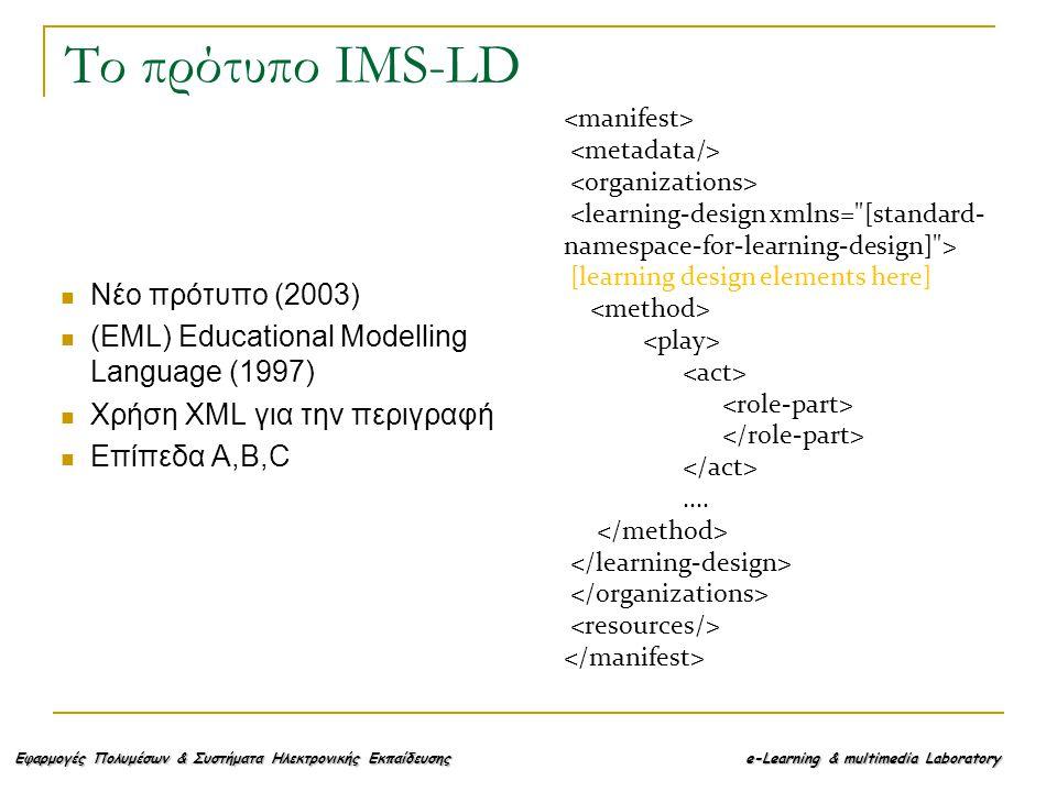 Εφαρμογές Πολυμέσων & Συστήματα Ηλεκτρονικής Εκπαίδευσης e-Learning & multimedia Laboratory Το πρότυπο IMS-LD Νέο πρότυπο (2003) (EML) Educational Modelling Language (1997) Χρήση XML για την περιγραφή Επίπεδα A,B,C [learning design elements here]....
