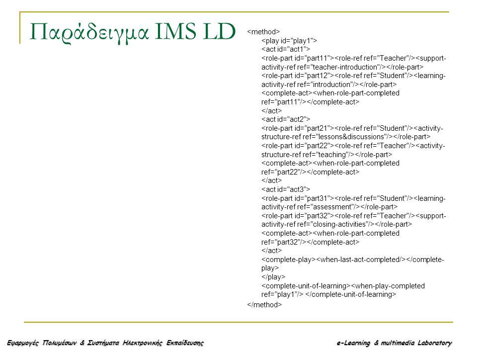 Εφαρμογές Πολυμέσων & Συστήματα Ηλεκτρονικής Εκπαίδευσης e-Learning & multimedia Laboratory Παράδειγμα IMS LD