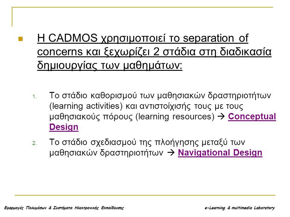 Εφαρμογές Πολυμέσων & Συστήματα Ηλεκτρονικής Εκπαίδευσης e-Learning & multimedia Laboratory Η CADMOS χρησιμοποιεί το separation of concerns και ξεχωρίζει 2 στάδια στη διαδικασία δημιουργίας των μαθημάτων: 1.
