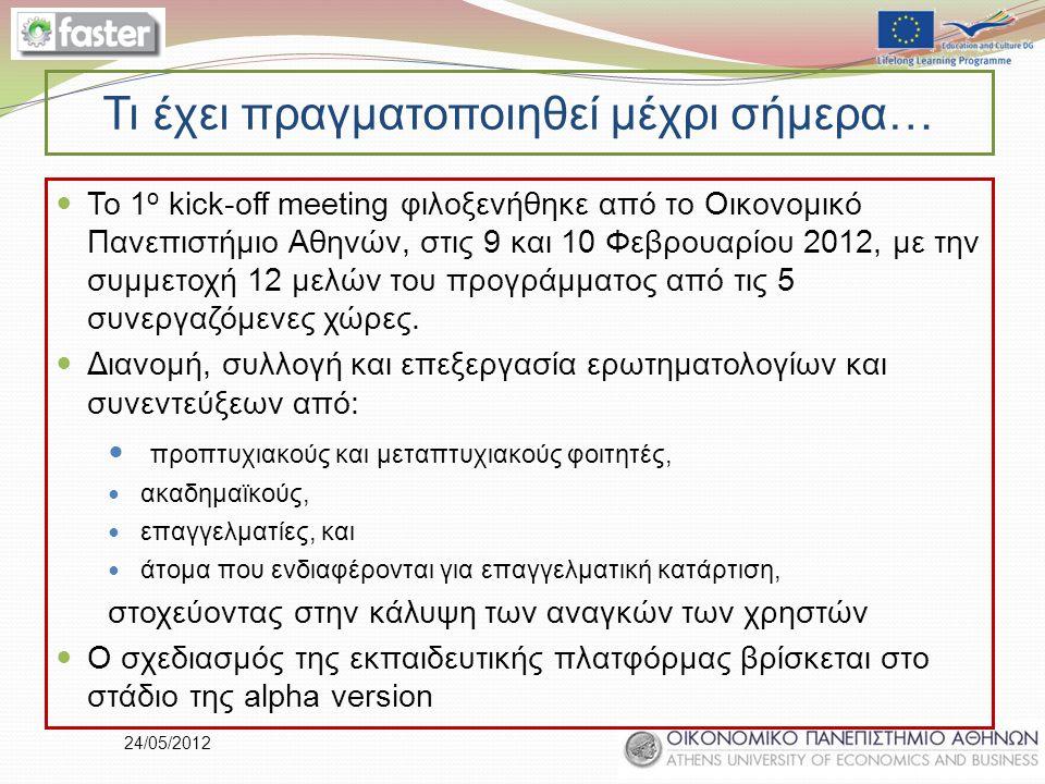 24/05/2012 Τι έχει πραγματοποιηθεί μέχρι σήμερα… Το 1 ο kick-off meeting φιλοξενήθηκε από το Οικονομικό Πανεπιστήμιο Αθηνών, στις 9 και 10 Φεβρουαρίου