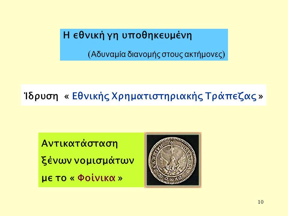 10 Αντικατάσταση ξένων νομισμάτων με το « Φοίνικα » Η εθνική γη υποθηκευμένη ( Αδυναμία διανομής στους ακτήμονες ) Ίδρυση « Εθνικής Χρηματιστηριακής Τράπεζας »