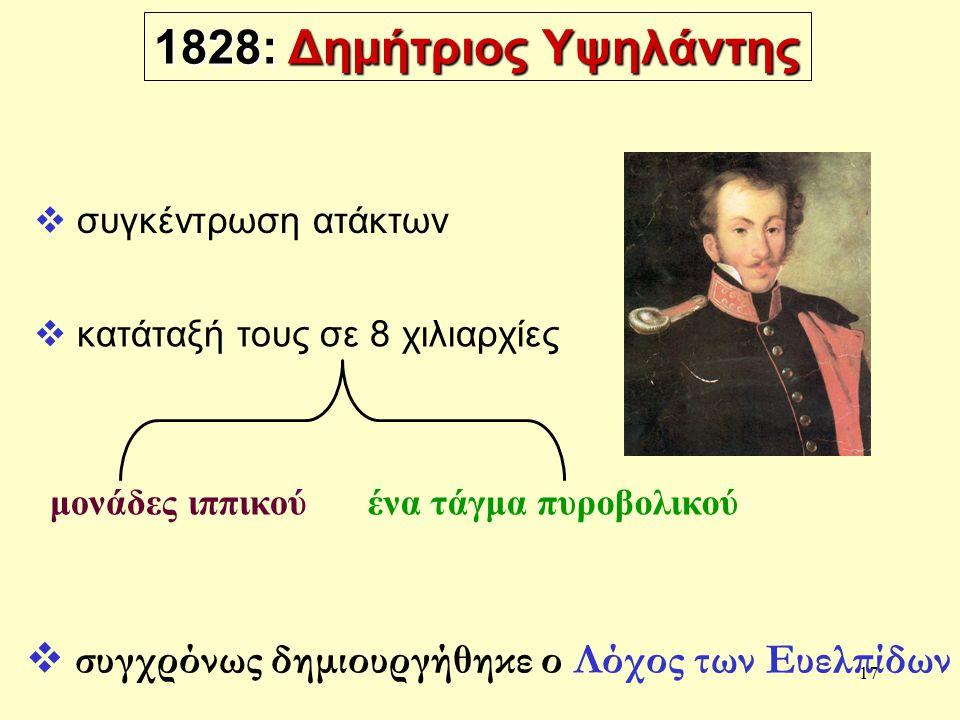 17 1828: Δημήτριος Υψηλάντης μονάδες ιππικούένα τάγμα πυροβολικού  συγχρόνως δημιουργήθηκε ο Λόχος των Ευελπίδων  συγκέντρωση ατάκτων  κατάταξή τους σε 8 χιλιαρχίες
