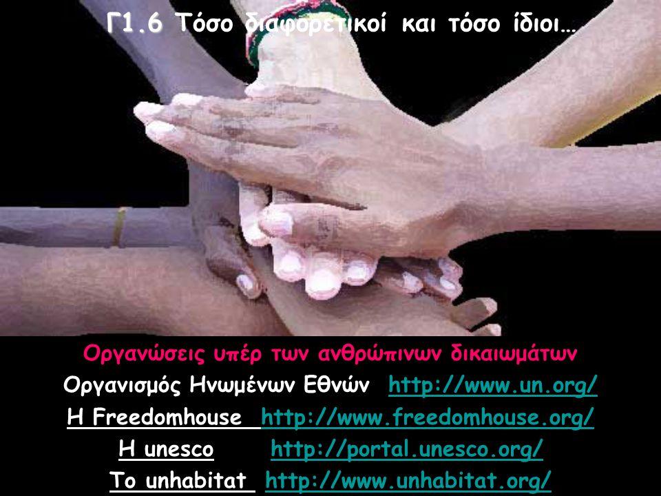 Οργανώσεις υπέρ των ανθρώπινων δικαιωμάτων Οργανισμός Ηνωμένων Εθνών http://www.un.org/ Η Freedomhouse http://www.freedomhouse.org/ Η unesco http://portal.unesco.org/ Το unhabitat http://www.unhabitat.org/