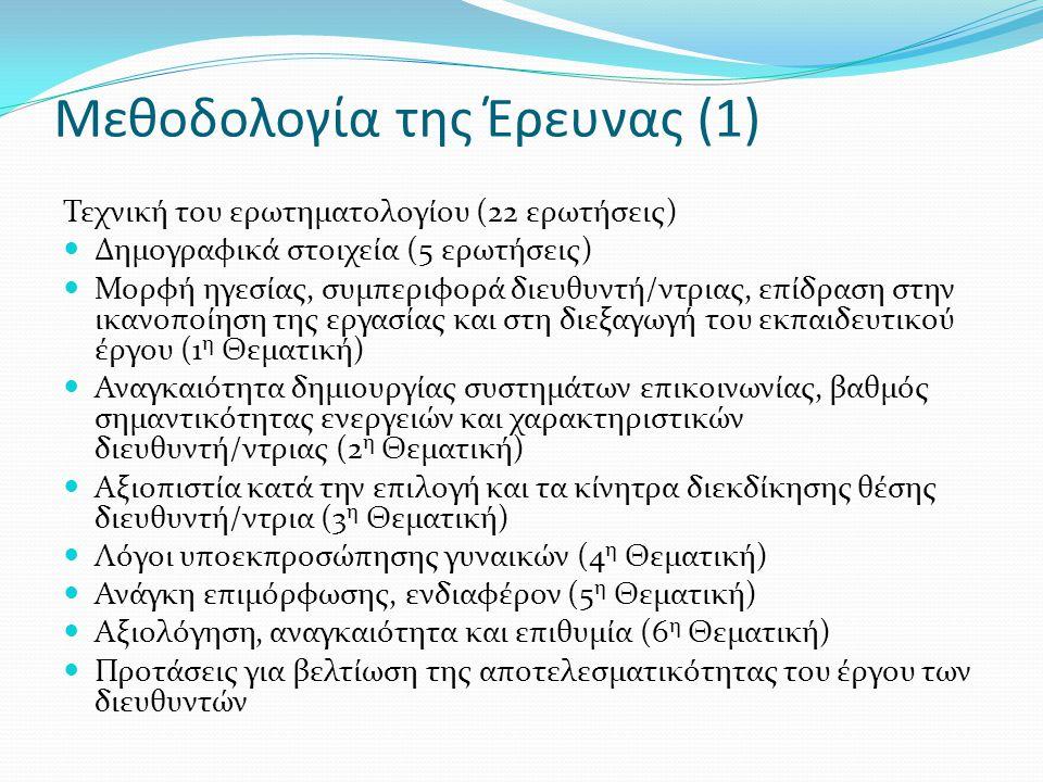 Μεθοδολογία της Έρευνας (1) Τεχνική του ερωτηματολογίου (22 ερωτήσεις) Δημογραφικά στοιχεία (5 ερωτήσεις) Μορφή ηγεσίας, συμπεριφορά διευθυντή/ντριας, επίδραση στην ικανοποίηση της εργασίας και στη διεξαγωγή του εκπαιδευτικού έργου (1 η Θεματική) Αναγκαιότητα δημιουργίας συστημάτων επικοινωνίας, βαθμός σημαντικότητας ενεργειών και χαρακτηριστικών διευθυντή/ντριας (2 η Θεματική) Αξιοπιστία κατά την επιλογή και τα κίνητρα διεκδίκησης θέσης διευθυντή/ντρια (3 η Θεματική) Λόγοι υποεκπροσώπησης γυναικών (4 η Θεματική) Ανάγκη επιμόρφωσης, ενδιαφέρον (5 η Θεματική) Αξιολόγηση, αναγκαιότητα και επιθυμία (6 η Θεματική) Προτάσεις για βελτίωση της αποτελεσματικότητας του έργου των διευθυντών
