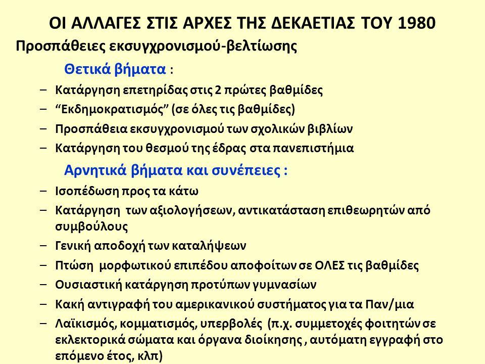 ΟΙ ΑΛΛΑΓΕΣ ΣΤΙΣ ΑΡΧΕΣ ΤΗΣ ΔΕΚΑΕΤΙΑΣ ΤΟΥ 1980 Προσπάθειες εκσυγχρονισμού-βελτίωσης Θετικά βήματα : –Κατάργηση επετηρίδας στις 2 πρώτες βαθμίδες – Εκδημοκρατισμός (σε όλες τις βαθμίδες) –Προσπάθεια εκσυγχρονισμού των σχολικών βιβλίων –Κατάργηση του θεσμού της έδρας στα πανεπιστήμια Αρνητικά βήματα και συνέπειες : –Ισοπέδωση προς τα κάτω –Κατάργηση των αξιολογήσεων, αντικατάσταση επιθεωρητών από συμβούλους –Γενική αποδοχή των καταλήψεων –Πτώση μορφωτικού επιπέδου αποφοίτων σε ΟΛΕΣ τις βαθμίδες –Ουσιαστική κατάργηση προτύπων γυμνασίων –Κακή αντιγραφή του αμερικανικού συστήματος για τα Παν/μια –Λαϊκισμός, κομματισμός, υπερβολές (π.χ.
