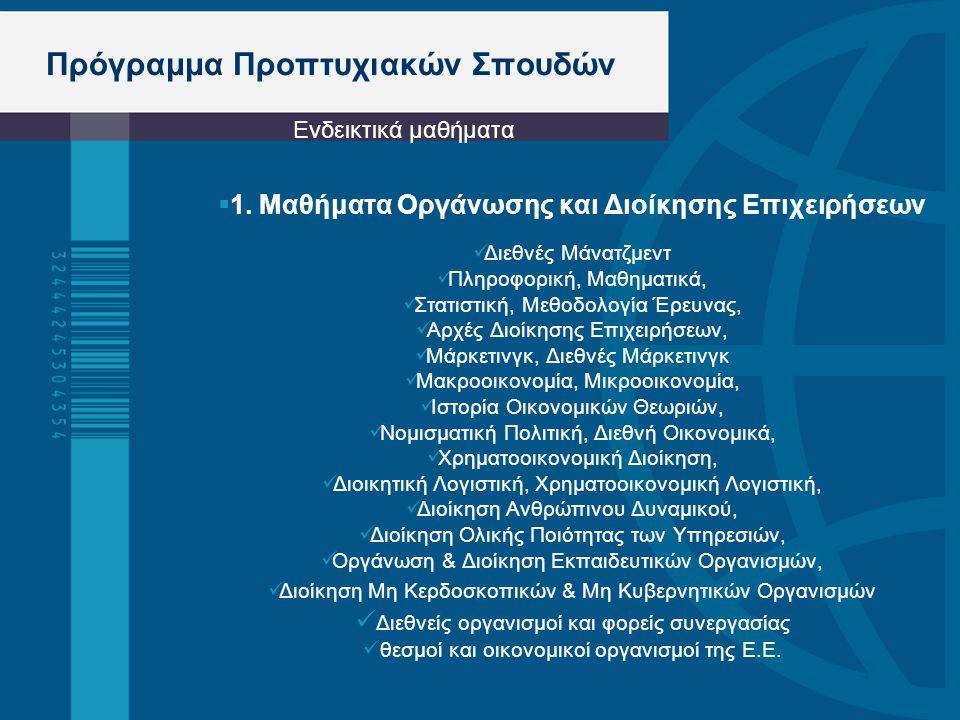 Πρόγραμμα Προπτυχιακών Σπουδών  1. Μαθήματα Οργάνωσης και Διοίκησης Επιχειρήσεων Διεθνές Μάνατζμεντ Πληροφορική, Μαθηματικά, Στατιστική, Μεθοδολογία