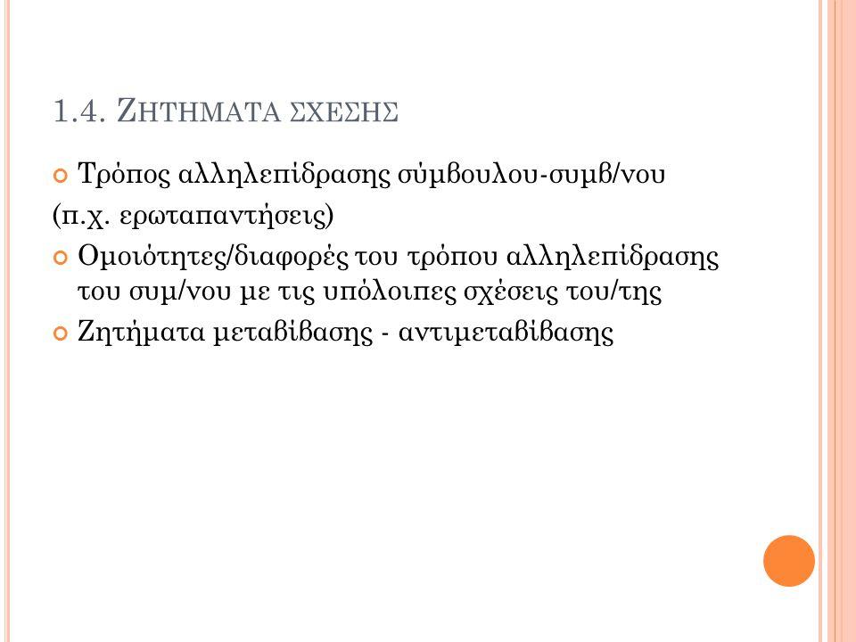 1.4. Ζ ΗΤΗΜΑΤΑ ΣΧΕΣΗΣ Τρόπος αλληλεπίδρασης σύμβουλου-συμβ/νου (π.χ. ερωταπαντήσεις) Ομοιότητες/διαφορές του τρόπου αλληλεπίδρασης του συμ/νου με τις