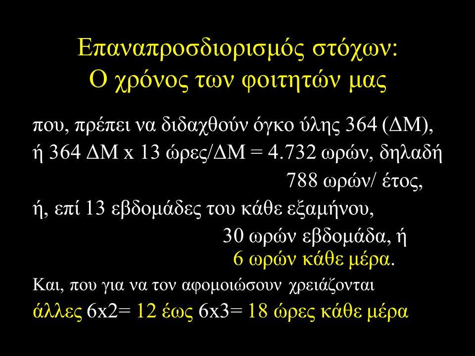 Επαναπροσδιορισμός στόχων: Ο χρόνος των φοιτητών μας που, πρέπει να διδαχθούν όγκο ύλης 364 (ΔΜ), ή 364 ΔΜ x 13 ώρες/ΔΜ = 4.732 ωρών, δηλαδή 788 ωρών/ έτος, ή, επί 13 εβδομάδες του κάθε εξαμήνου, 30 ωρών εβδομάδα, ή 6 ωρών κάθε μέρα.