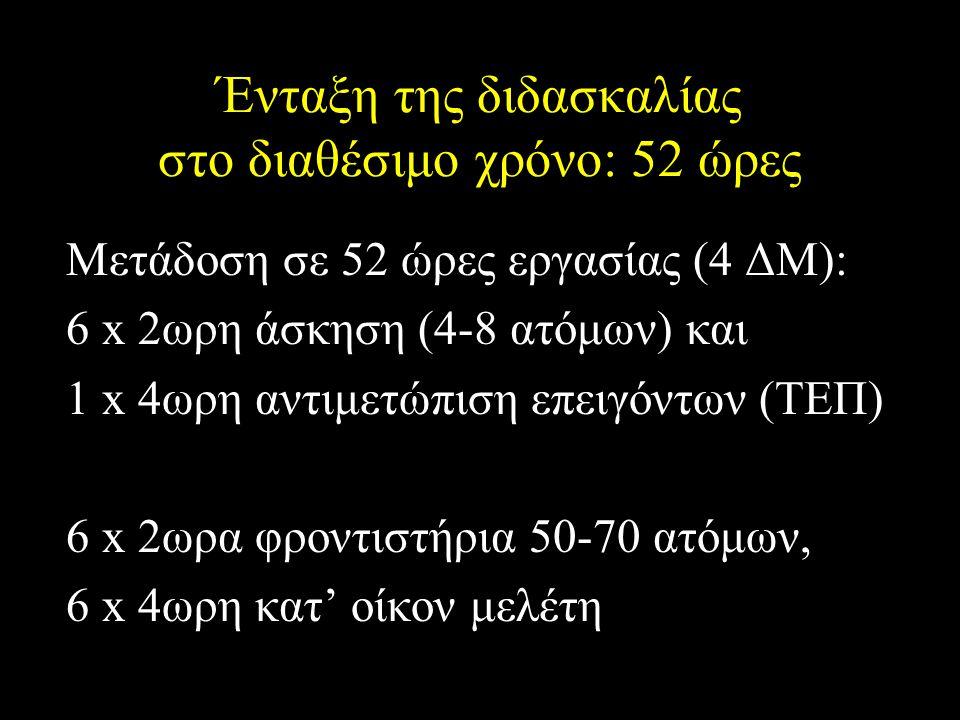 Ένταξη της διδασκαλίας στο διαθέσιμο χρόνο: 52 ώρες Μετάδοση σε 52 ώρες εργασίας (4 ΔΜ): 6 x 2ωρη άσκηση (4-8 ατόμων) και 1 x 4ωρη αντιμετώπιση επειγόντων (ΤΕΠ) 6 x 2ωρα φροντιστήρια 50-70 ατόμων, 6 x 4ωρη κατ' οίκον μελέτη