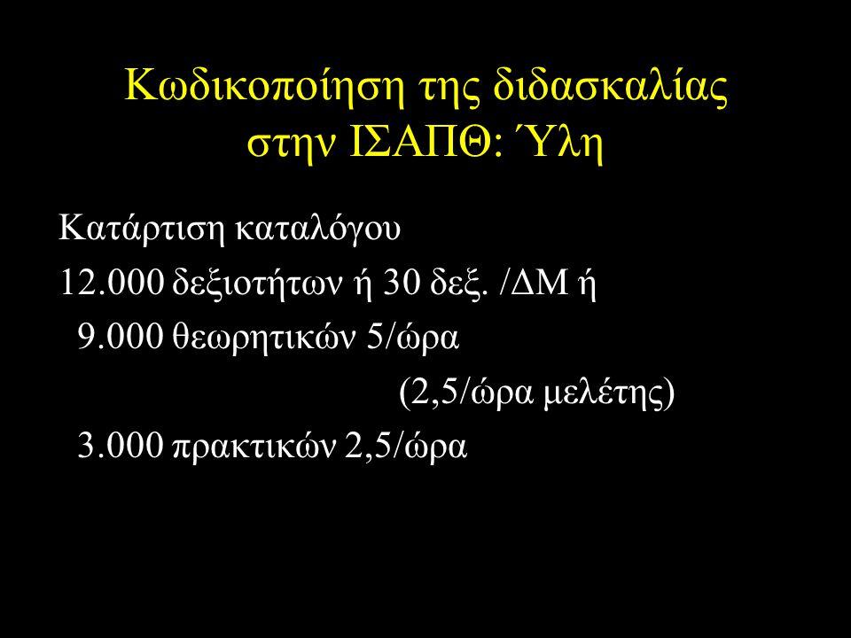 Κωδικοποίηση της διδασκαλίας στην ΙΣΑΠΘ: Ύλη Κατάρτιση καταλόγου 12.000 δεξιοτήτων ή 30 δεξ.