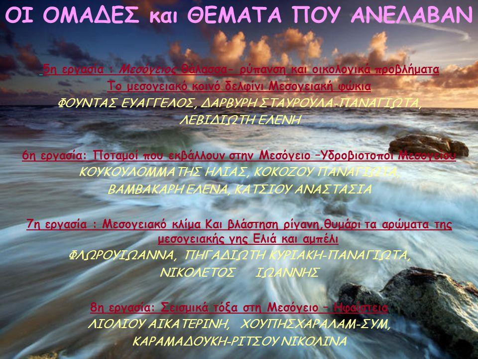 5η εργασία : Μεσόγειος θάλασσα- ρύπανση και οικολογικά προβλήματα Το μεσογειακό κοινό δελφίνι Μεσογειακή φώκια ΦΟΥΝΤΑΣ ΕΥΑΓΓΕΛΟΣ, ΔΑΡΒΥΡΗ ΣΤΑΥΡΟΥΛΑ-ΠΑΝΑΓΙΩΤΑ, ΛΕΒΙΔΙΩΤΗ ΕΛΕΝΗ 6η εργασία: Ποταμοί που εκβάλλουν στην Μεσόγειο –Υδροβιοτοποι Μεσογείου ΚΟΥΚΟΥΛΟΜΜΑΤΗΣ ΗΛΙΑΣ, ΚΟΚΟΖΟΥ ΠΑΝΑΓΙΩΤΑ, ΒΑΜΒΑΚΑΡΗ ΕΛΕΝΑ, ΚΑΤΣΙΟΥ ΑΝΑΣΤΑΣΙΑ 7η εργασία : Μεσογειακό κλίμα Και βλάστηση ρίγανη,θυμάρι τα αρώματα της μεσογειακής γης Ελιά και αμπέλι ΦΛΩΡΟΥΙΩΑΝΝΑ, ΠΗΓΑΔΙΩΤΗ ΚΥΡΙΑΚΗ-ΠΑΝΑΓΙΩΤΑ, ΝΙΚΟΛΕΤΟΣΙΩΑΝΝΗΣ 8η εργασία: Σεισμικά τόξα στη Μεσόγειο – Ηφαίστεια ΛΙΟΛΙΟΥ ΑΙΚΑΤΕΡΙΝΗ, ΧΟΥΠΗΣΧΑΡΑΛΑΜ-ΣΥΜ, ΚΑΡΑΜΑΔΟΥΚΗ-ΡΙΤΣΟΥ ΝΙΚΟΛΙΝΑ