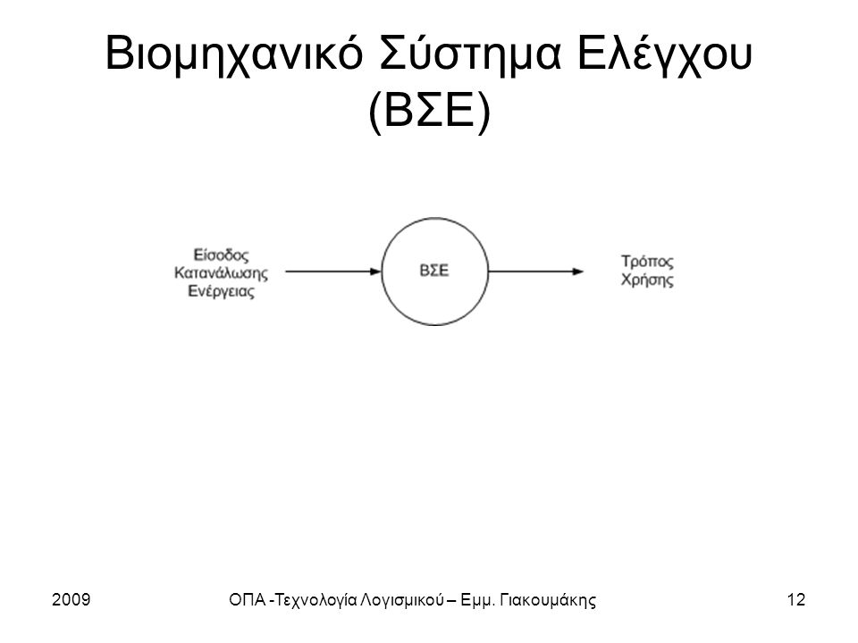 2009ΟΠΑ -Τεχνολογία Λογισμικού – Εμμ. Γιακουμάκης12 Βιομηχανικό Σύστημα Ελέγχου (ΒΣΕ)