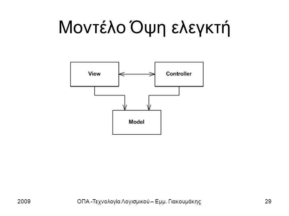 2009ΟΠΑ -Τεχνολογία Λογισμικού – Εμμ. Γιακουμάκης29 Μοντέλο Όψη ελεγκτή