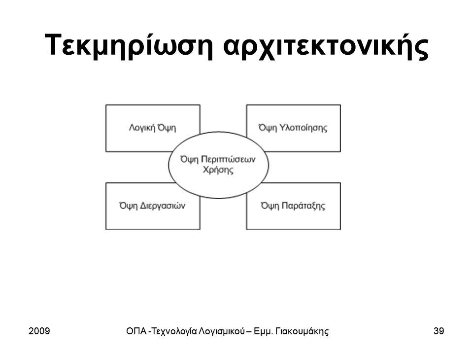 2009ΟΠΑ -Τεχνολογία Λογισμικού – Εμμ.Γιακουμάκης392009ΟΠΑ -Τεχνολογία Λογισμικού – Εμμ.