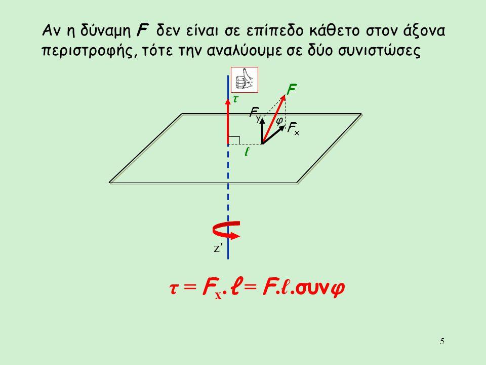 5 Αν η δύναμη F δεν είναι σε επίπεδο κάθετο στον άξονα περιστροφής, τότε την αναλύουμε σε δύο συνιστώσες τ = F x. ℓ = F.ℓ. συνφ φ τ F z′z′ ℓ FxFx FyFy