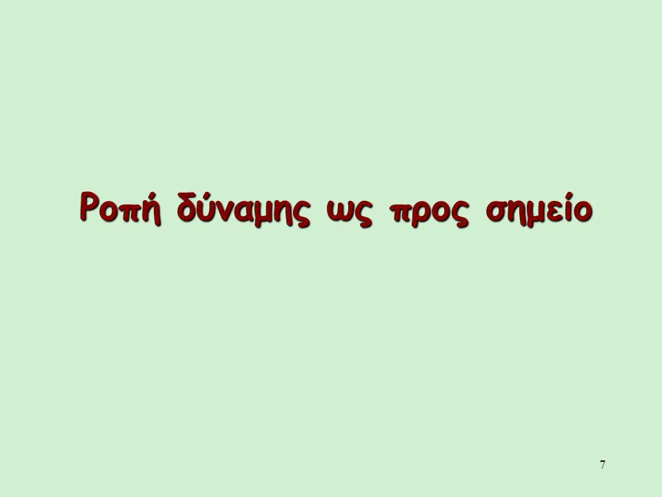 8 Στις περιπτώσεις που δεν υπάρχει σταθερός άξονας περιστροφής χρησιμοποιείται η έννοια της ροπής δύναμης ως προς σημείο.