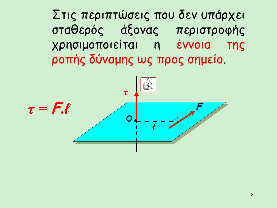 8 Στις περιπτώσεις που δεν υπάρχει σταθερός άξονας περιστροφής χρησιμοποιείται η έννοια της ροπής δύναμης ως προς σημείο. τ = F.ℓ O τ F ℓ