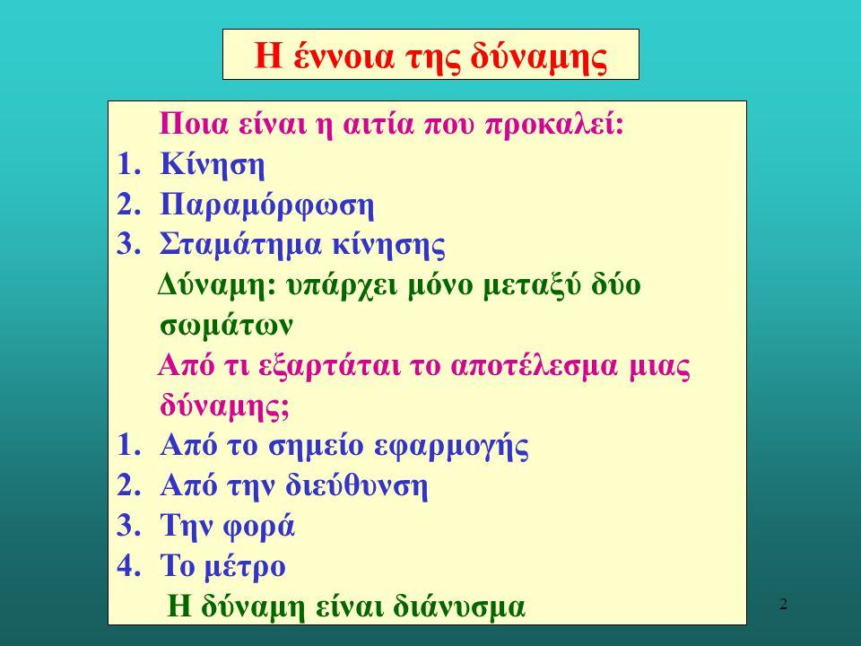 13 Οι νόμοι του Νεύτωνα 1ος Νόμος (συμπεράσματα σχετικά με την αδράνεια).