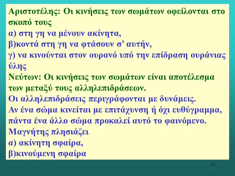 20 Αριστοτέλης: Οι κινήσεις των σωμάτων οφείλονται στο σκοπό τους α) στη γη να μένουν ακίνητα, β)κοντά στη γη να φτάσουν σ' αυτήν, γ) να κινούνται στο