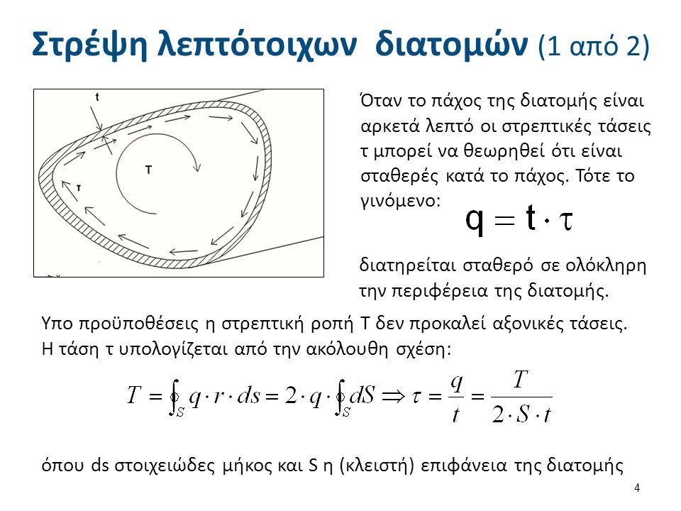 Στρέψη λεπτότοιχων διατομών (2 από 2) Η γωνία στροφής ανά μονάδα μήκους δίδεται από τη σχέση: όπου J ο στρεπτικός συντελεστής (torsional constant) που δίδεται από τη σχέση: όπου L το μήκος της περιφέρειας της διατομής και dl στοιχειώδες μήκος επί της περιφέρειας.
