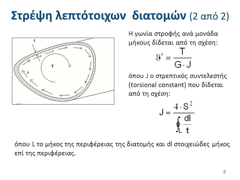 Στρέψη λεπτότοιχων διατομών (2 από 2) Η γωνία στροφής ανά μονάδα μήκους δίδεται από τη σχέση: όπου J ο στρεπτικός συντελεστής (torsional constant) που