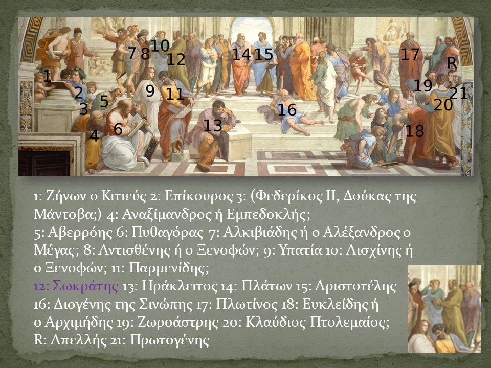 1: Ζήνων ο Κιτιεύς 2: Επίκουρος 3: (Φεδερίκος II, Δούκας της Μάντοβα;) 4: Αναξίμανδρος ή Εμπεδοκλής; 5: Αβερρόης 6: Πυθαγόρας 7: Αλκιβιάδης ή ο Αλέξανδρος ο Μέγας; 8: Αντισθένης ή ο Ξενοφών; 9: Υπατία 10: Αισχίνης ή ο Ξενοφών; 11: Παρμενίδης; 12: Σωκράτης 13: Ηράκλειτος 14: Πλάτων 15: Αριστοτέλης 16: Διογένης της Σινώπης 17: Πλωτίνος 18: Ευκλείδης ή ο Αρχιμήδης 19: Ζωροάστρης 20: Κλαύδιος Πτολεμαίος; R: Απελλής 21: Πρωτογένης