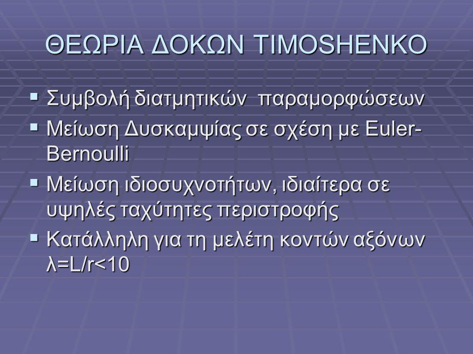 ΘΕΩΡΙΑ ΔΟΚΩΝ TIMOSHENKO  Συμβολή διατμητικών παραμορφώσεων  Μείωση Δυσκαμψίας σε σχέση με Euler- Bernoulli  Μείωση ιδιοσυχνοτήτων, ιδιαίτερα σε υψηλές ταχύτητες περιστροφής  Κατάλληλη για τη μελέτη κοντών αξόνων λ=L/r<10