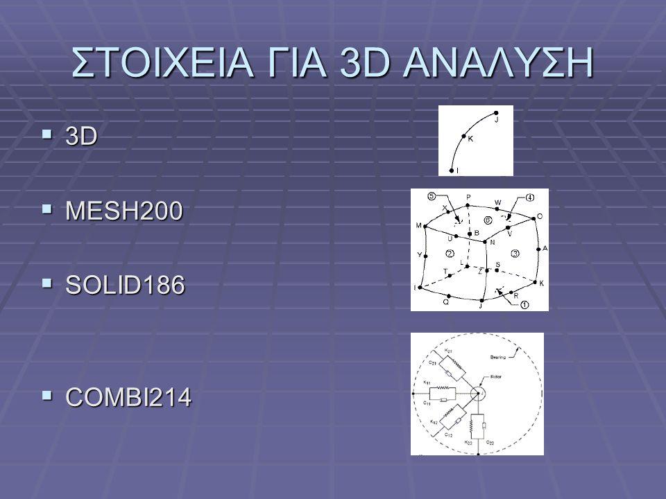ΣΤΟΙΧΕΙΑ ΓΙΑ 3D ΑΝΑΛΥΣΗ  3D  MESH200  SOLID186  COMBI214