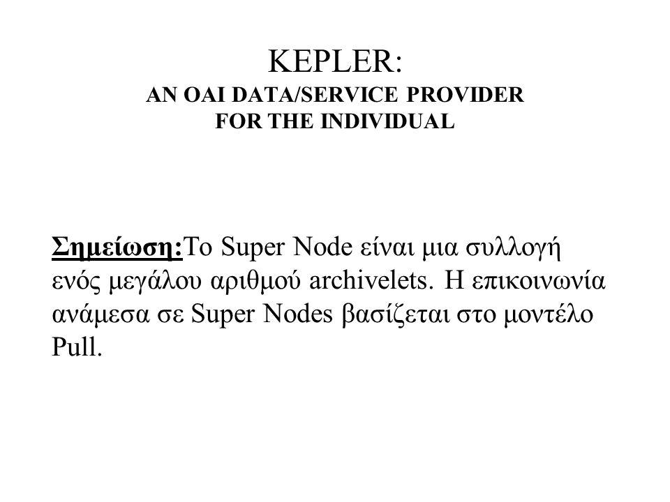 KEPLER: AN OAI DATA/SERVICE PROVIDER FOR THE INDIVIDUAL Σημείωση:Το Super Node είναι μια συλλογή ενός μεγάλου αριθμού archivelets.